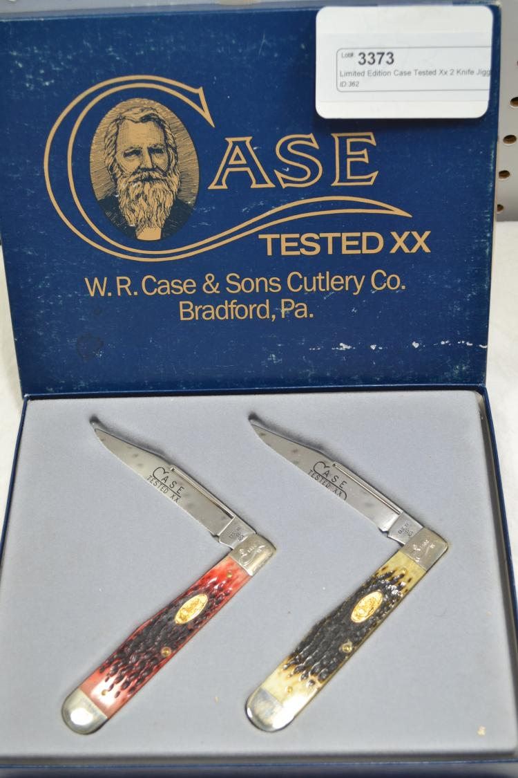 Limited Edition Case Tested XX 2 Knife Jigged Bone Folding Pocket Knife Set