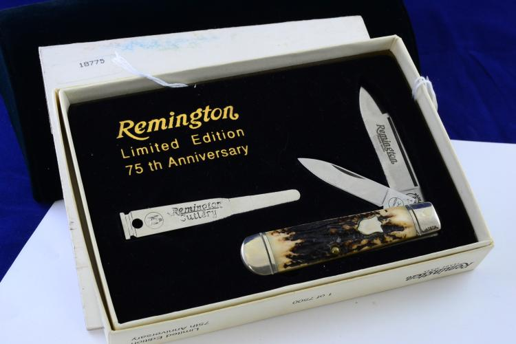 Remington 75Th Anniversary Stag Horn 2 Blade Folding Pocket Knife