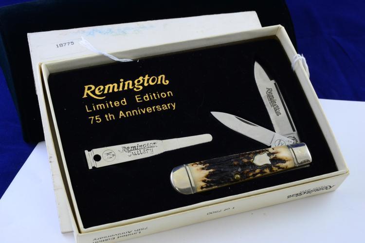 Remington 75Th Anniversary Stag Horn 2 Blade Folding Pocket Knife