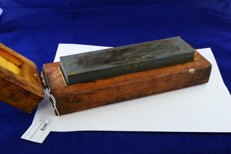 Handmade Wood Case With Course And Fine Oil Stone