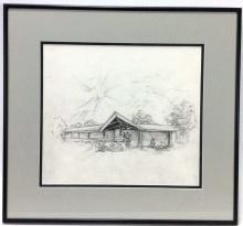 Jessie Benton Evans, Sun Over Ranch Home Sketch