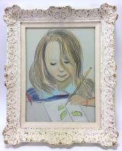 20th C. Young Girl Drawing Pastel on Paper