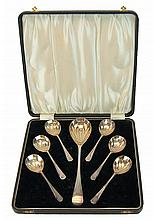 7 Pcs.  Antique Silver Plate Spoon Set in Box