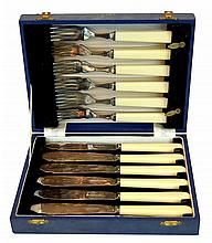 12 Pcs.  Antique Silver Plate Knife Fork Set in Box