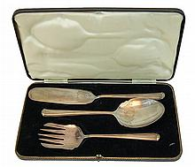 3 Pc  Antique Silver Plate Serving Piece Flatware