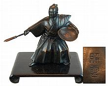 Japanese Samurai Warrior Bronze Sculpture