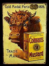 Antique Tin Litho Colman's Mustard Advertising Sign