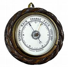PAIR Carved Wood Round Wall Barometer