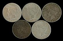 5 Circulated Peace Silver Dollar