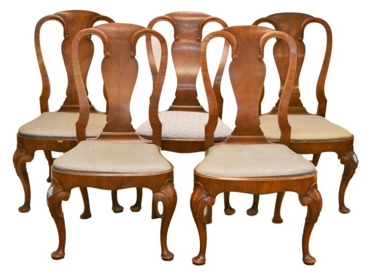 5 Pc Antique Queen Anne Fiddle Back Dining Chair Lot
