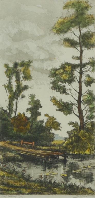 Signed landscape lithograph ltd ed for Artworks landscape ltd