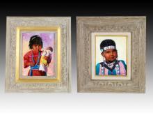 Pair of Ken Freeman Native American Paintings