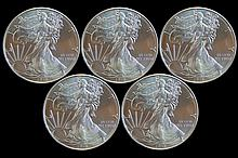 5 Uncirculated Silver Eagle 2013 Dollars