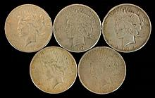 5 Circulated Peace Silver Dollar Lot