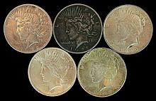 5 Circulated Peace Dollars
