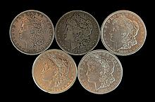 5 Circulated Morgan Silver Dollars