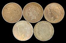 5 Pc - Circulated 4 Peace, 1 Morgan Silver Dollar
