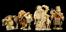 4 Pc Japanese Carved Ivory Netsuke