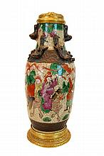 Chinese Hand Painted Pottery Vase Lamp Base