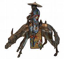 Japanese Bronze & Enamel Horse w/ Rider Sculpture