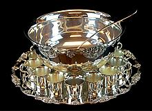 Wallace Silver Plate Punch Bowl Set w/ Cups, Tray