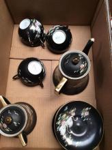 Hand Painted Nippon Black China Tea Set