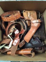 Leather Firearm Holsters & Ammo Belts Lot