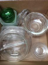 Green & Clear Glassware Box Lot