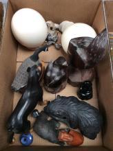 Carved Animal & Ostrich Egg Lot
