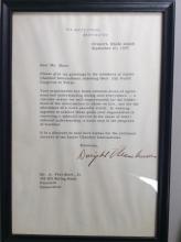 President Eisenhower Signed White House Letter