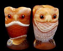 Imperial Slag Glass Owl Creamer & Sugar in Tan
