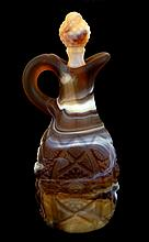 Imperial Slag Glass Cruet with Stopper in Brown