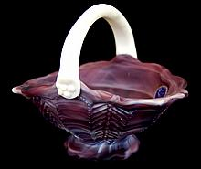 Imperial Slag Glass Herringbone Basket, Purple
