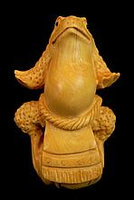 Japanese Tagua Nut Carved Toad Netsuke