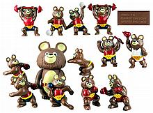1979 Russian Winter Olympic Misha Bear Figurines