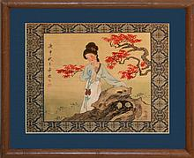 Asian Woven Silk Painting