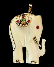 Jeweled Carved Ivory Elephant Pendant, 14k Accents