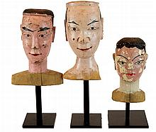 Trio Vintage Mounted Marionette Head Lot
