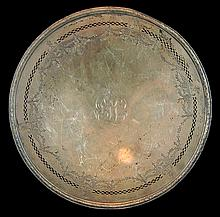 J.S. Co. Sterling Silver Etched Pedestal Tray