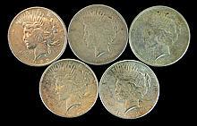 5 Circulated Peace Silver Dollar Lot