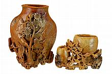 PAIR Chinese Carved Soapstone Vase