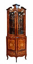 Fruitwood Inlay 2 Piece Wooden Hutch/Cabinet