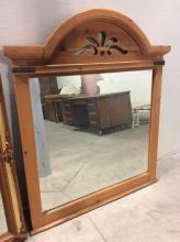 Carved Wood w. Brass Accented Mirror