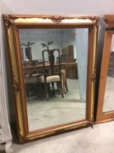 Ornate Carved Wood w/ Gilt Painted Beveled Mirror