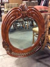 Solid Wood Ornately Carved Hanging Beveled Mirror
