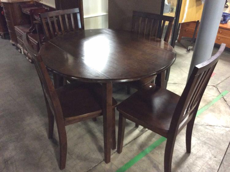 lot 1249 round dark wood dining table w matching chairs