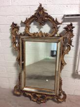 Gilt Painted Ornate Hanging Mirror