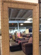 Ornate Tin Painted Framed Beveled Mirror