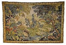 Large Verdue Tapestry with Cranes