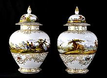 Pair of Dresden Porcelain Urns